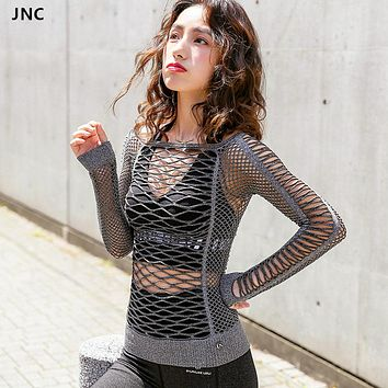 JNC Mesh Hollow Out Yoga Top Full Sleeve Sports T Shirt Quick Dry Fitness Sports Gym Running Jogging Shirts Female Workout Tops