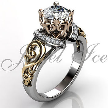 Engagement Ring - 14k White Yellow and Rose Gold Diamond Art Deco Filigree Scroll Engagement Ring Wedding Ring Anniversary Ring ER-1124-8