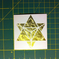 Merkaba die-cut decal sticker 3x3 gold edition