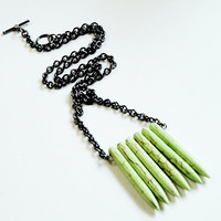 Light Green Tribal Turquoise Spike Necklace with Long Black Chain/ Inspired by Native Americans Necklace