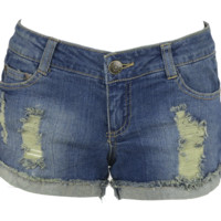Celebrity Pink Sandblast Distressed Stretch Denim Shorts