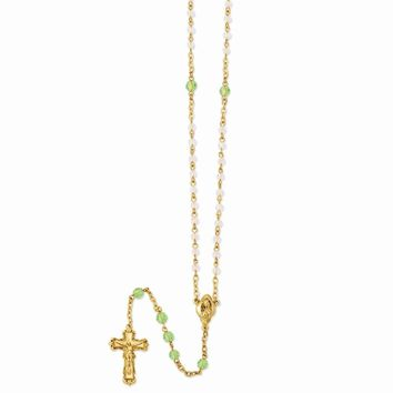 Gold-tone, Light Green & Aurora Borealis Crystal Rosary - Perfect Religious Gift