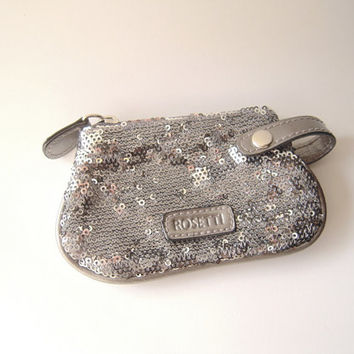 Elegant Rosetti silver grey sequin coin credit card change purse, like new gently used, zipper change purse with loop, pewter grey purse.