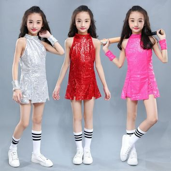 Kids Hip Hop Dance Costume Girls Jazz Costumes Street Dance Clothing Cheerleading Sequin Outfit Vest Shorts Stage Dress DN1884
