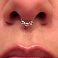 Sterling Silver Triple  Bead Septum Ring Fake No Piercing Needed Wire Nose Ring