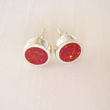 Round Circle Pink Stud Earrings in Sterling Silver and Pigments - Ear Studs Pink Magenta Fuxia Coral Colour - Fuxia and Silver Dot