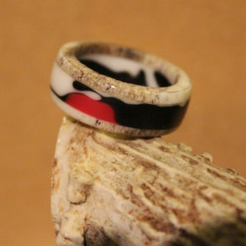 Antler Ring, Elk Antler with Pink and Black Camo