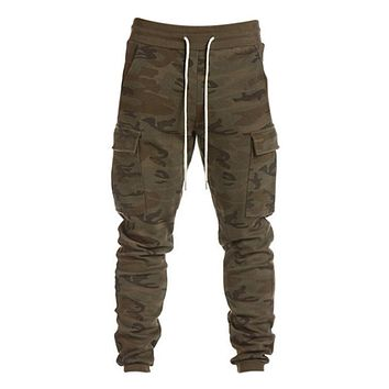 Green Camouflage Army Camo Military Joggers  Sweatpants For Men