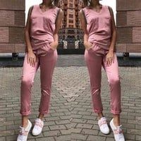 Pink 2-in-1 V-neck Sleeveless Casual Long Jumpsuit