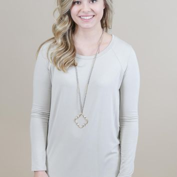 Bamboo Roundneck Tee, Taupe
