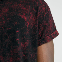 Burgundy Ice Wash Roller Fit T-Shirt - Topman