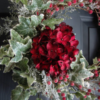 Christmas Hydrangea and Ivy Wreath with Frosted Berries, Holiday Door Wreath, Seasonal Wreaths, Housewarming Gift, Wreath Decorations