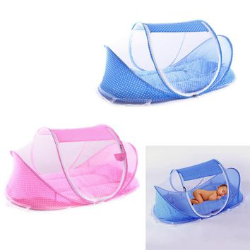Portable/Foldable Soft Baby Sleep Travel Bed Crib With Mosquito Net Pillow and Mat Set