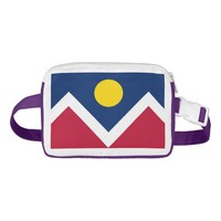 Patriotic Fanny Pack with Flag of Denver City USA.