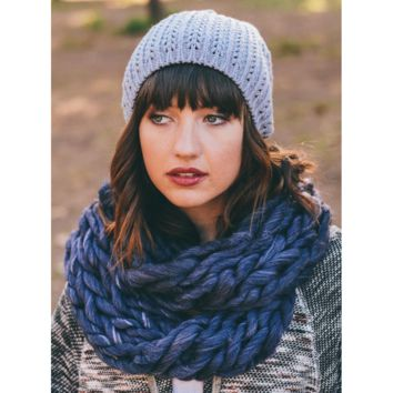 Ultra-Soft Blue/Purple Mix Chunky Infinity Scarf