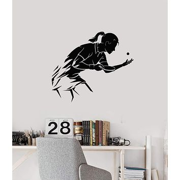 Vinyl Wall Decal Table Tennis Ping Pong Woman Girl Sport Home Interior Stickers Mural (g001)