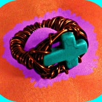 Sideways Cross Ring Turquoise Woman Direct Checkout