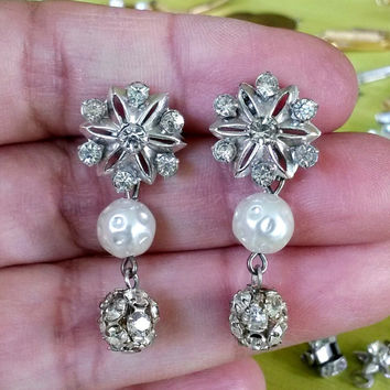 RePurposed Bridal Silver Tone Clear Rhinestone Fx Pearl Pierced Earrings OOAK