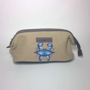 Men's Canvas Shave Kit Bag with Optional Monogram and Hand Painted Blue Crab