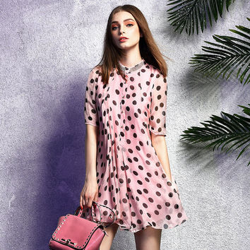 100% Silk Women Elegant Loose O-Neck Polka Dot Print Half Sleeve Dress 2017 Vestidos Femininos Robe Femme Spring Summer Style
