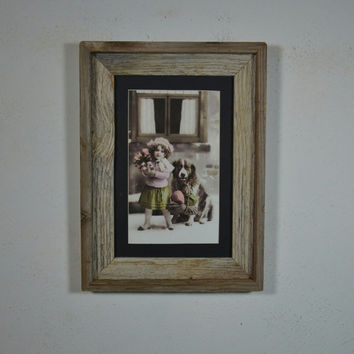 Victorian girl and dog framed print great rustic wall decor