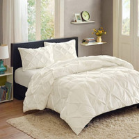 Better Homes and Gardens Pintuck Bedding Comforter Mini Set,Full/Queen, White