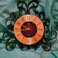 Empire Wrought Iron Scroll Electric Wall Clock Vintage 1960s Mid Century Clock Does Not Work Properly Great For Parts or Restoration