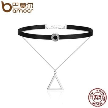 BAMOER Trendy 925 Sterling Silver Double Layer & Black Braid Triangle Round Chokers Pendant Necklaces Collar Jewelry SCN081