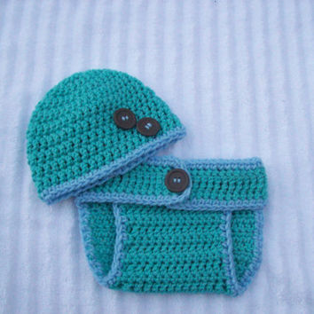 Baby Boy Crochet Diaper Cover and Hat Set in Teal and Blue - Newborn to 3 Months