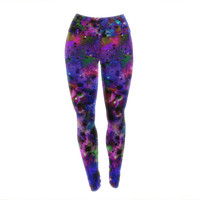 "Ebi Emporium ""Color Me Floral"" Celestial Blue Yoga Leggings"
