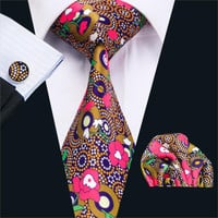 New Men`s Ties Floral Pink 100% Cotton Fashion Print Neck Tie Hanky Cufflink Set Ties For Men Business Wedding Party