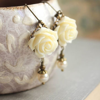 Ivory Cream Rose Earrings Flower Earrings Pearl Drop Floral Dangle Earrings Leverback Earrings Nickel Free Romantic Wedding Jewelry