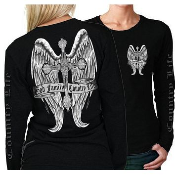 Country Life Outfitters Wings Cross God Faith Family Vintage Black Long Sleeve Bright T Shirt