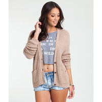 Billabong Women's Chilly Waters Knit Cardigan Oatmeal Heather