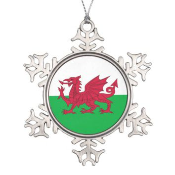 Snowflake Ornament with Wales Flag