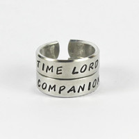 Time Lord Companion Ring Set, Doctor Who Inspired Rings, Dr Who Fans Jewelry, Whovian Pair Rings, Adjustable Aluminum Ring