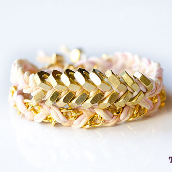 TINNLILY Silk Blush Chain and Hex Nut Double Wrap Bracelet