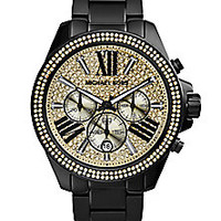 Michael Kors - Wren Black IP Stainless Steel Glitz Chronograph Bracelet Watch - Saks Fifth Avenue Mobile
