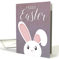 White Bunny with Floppy Ears and Purple Background for Easter card