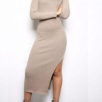 Khaki Plain Irregular Side Slit Long Sleeve Casual Knit Sweater Maxi Dress