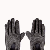 Street-Chic Faux Leather-Trimmed Gloves