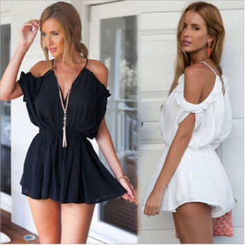 SIMPLE - Fashionable Sexy Loose Off Shoulder Strap V Neck One Piece Dress b66