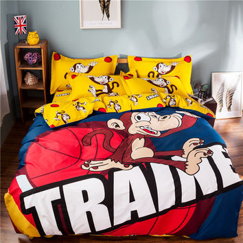 100% Cotton Yellow Red Basketball Sport Monkey Bedding Set Kids Boys Girls Cute Animal Cartoon Bed Sheet Bed Linen Home Textile