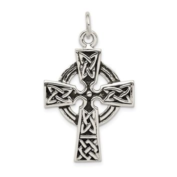 925 Sterling Silver Antiqued Celtic Cross Charm and Pendant