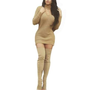 Fashion Autumn Dress Women Long Sleeve Sexy Party Khaki Knitted Dress Casual Bodycon Vestidos Short Sweater Dresses #LSN