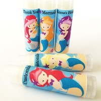 Mermaid Custom Lip Balm | Mermaid Birthday Favors | Free Customization