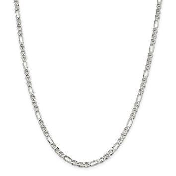 925 Sterling Silver 3.75mm Figaro Anchor Chain Necklace, Bracelet or Anklet