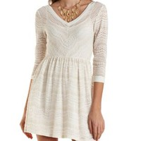 Three-Quarter Sleeve Crocheted Dress by Charlotte Russe