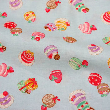 "Japanese fabric Macaron print  50 cm by 106 cm or 19.6"" by 42"" Half meter"