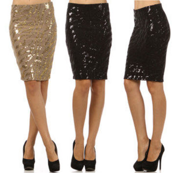 NEW Pretty Sequin Classy Pencil Skirt Black Gold Knee Length Career Party S M L